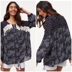 Ann Taylor Loft Floral Embroidered Tassel Tunic